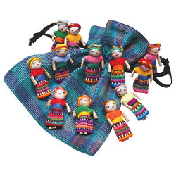 Worry Dolls in Drawstring Pouch