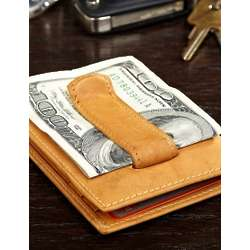 Aspen Tan Personalized Leather Card Holder with Money Clip