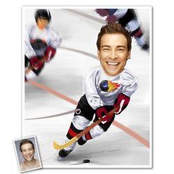 Ice Hockey Player Personalized Caricature Art Print