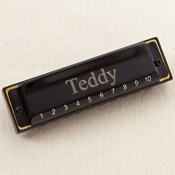 Kid's Personalized Black Harmonica