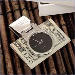 Black Face Round Watch and Money Clip