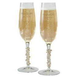 Hand-Decorated Austrian Crystal Toasting Flutes