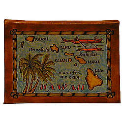 Hawaii Map Leather Photo Album in Color