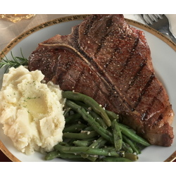 4 T-Bones, Garlic Mashed Potatoes & Basil Garlic Green Beans