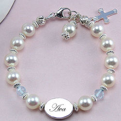 Freshwater Cultured Pearl Engravable Birthstone Bracelet