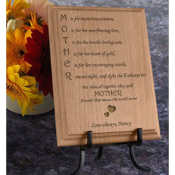 Personalized Mother Means Wooden Plaque