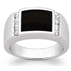 Men's Sterling Silver Black Onyx CZ Ring