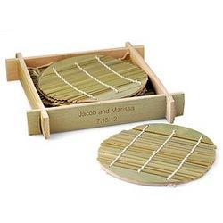 Green Bamboo Coaster Set