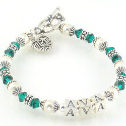 The Ava Swarovski Crystal and Sterling Silver Mother's Bracelet
