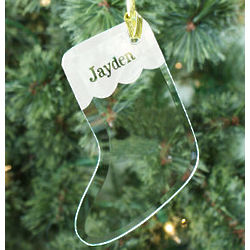 Engraved Glass Stocking Ornament