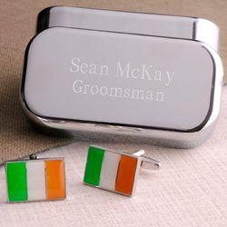 Dashing Irish Flag Cufflinks with Peronalized Case