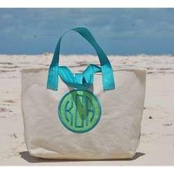 Canvas Cole Beach Bag with Applique