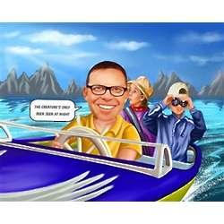 Speed Boat Pilot Caricature Print from Photo