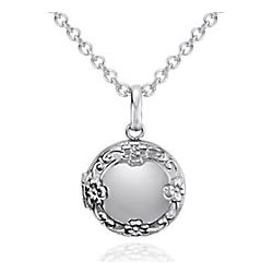 Children's Round Sterling Silver Floral Locket Pendant