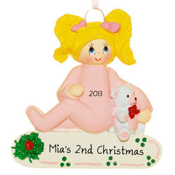 Toddler Girl and Teddy Bear Ornament