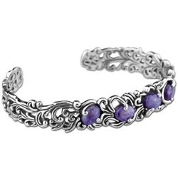 Charoite and Sterling Silver Vine Cuff Bracelet
