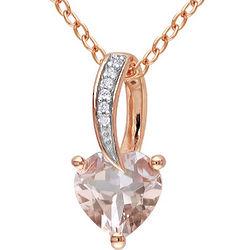 Rhodium Plated Heart Cut Diamond Necklace