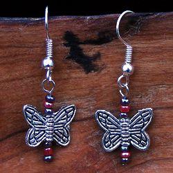 Playful Butterfly Silver Earrings