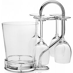 Wine Goblets and Ice Bucket with Metal Rack