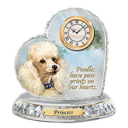Linda Picken Poodle Crystal Clock with Personalized Dog's Name