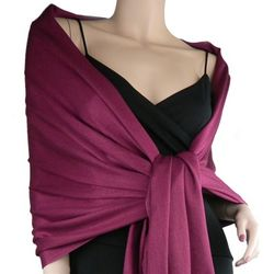 Pashmina and Silk Burgundy Shawl