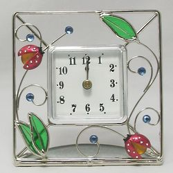 Stained Glass Ladybug Desk Clock