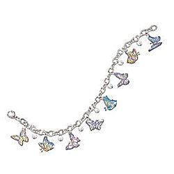 On Graceful Wings Engraved Butterfly Charm Bracelet