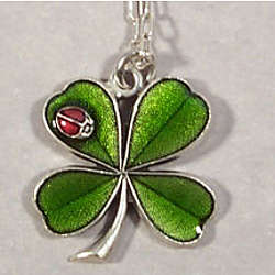 Four Leaf Clover Necklace with Ladybug