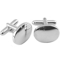 Personalized Silver Plated Oval Cuff Link Set