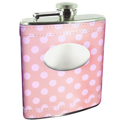 Personalized Pink Polka Dot Genuine Leather Flask