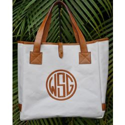 Leather and Canvas Tote with Monogram
