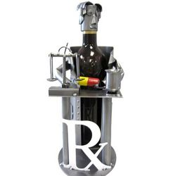 Handmade Metal Pharmacist Wine Caddy