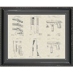 John Browning Firearms Framed Patent Art