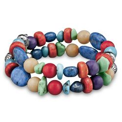 American West Multi-Gemstone Bright Coil Bracelet