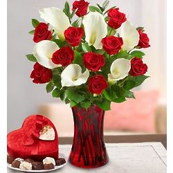 Romantic Red Rose and Calla Bouquet with Chocolates