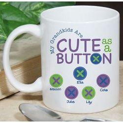 Personalized Cute As A Button Mug