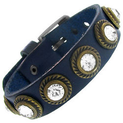 Blue Leather Bracelet with Cubic Zirconia Accents