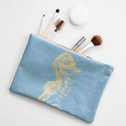 Light Blue with Seahorse Leather Pouch