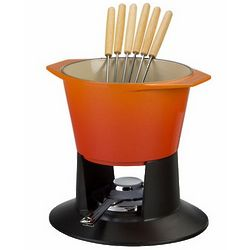 Traditional Fondue Pot with Stand and Forks