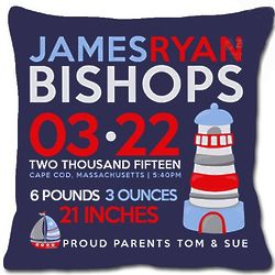 Personalized Birth Announcement New Baby Lighthouse Pillow