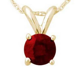 Round Garnet Pendant Set in 14k Yellow Gold