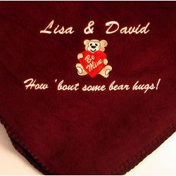 """""""Bear Hugs"""" Personalized Fleece Blanket"""