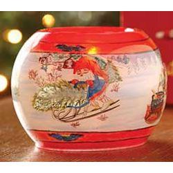 Christmas Spirit Hand-Painted Tea Light Holder