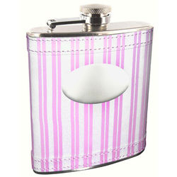 Personalized Pink Striped Genuine Leather Flask