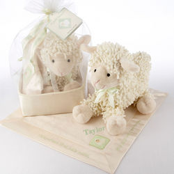 "Personalized ""Love Ewe"" Plush Lamb and Lovie Gift Set"