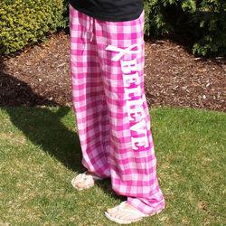 Believe Cancer Awareness Ladies Flannel Pants