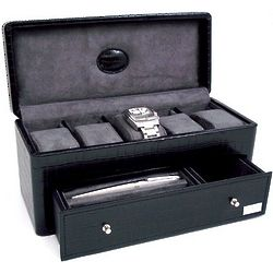 Engravable Croco Black Leather Watch Case