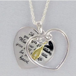 Inspirational Teardrop Heart Pendant with Cubic Zirconia