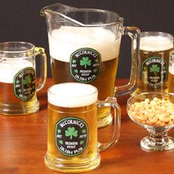 Personalized Irish Pub Shamrock Pitcher