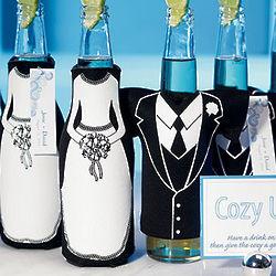 Tuxedo and Wedding Gown Bottle Koozie